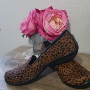 "Dansko ""olivia"" cheetah print loafers"